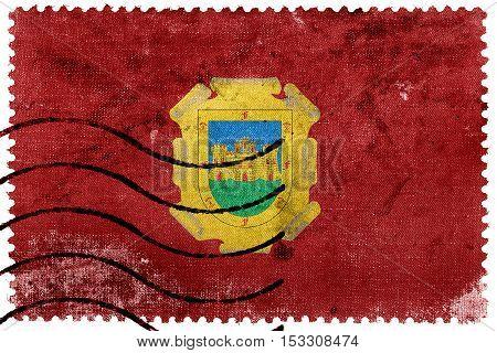 Flag Of La Serena, Chile, Old Postage Stamp