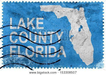 Flag Of Lake County, Florida, Usa, Old Postage Stamp