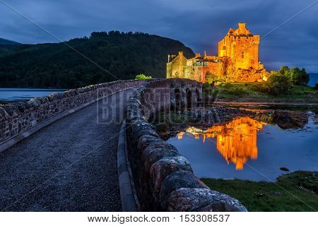 Beautiful Eilean Donan Castle After Sunset, Scotland