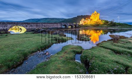 Wonderful Eilean Donan Castle After Sunset, Scotland