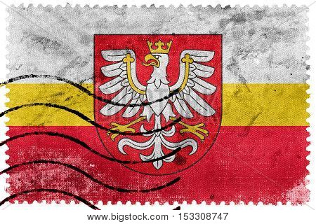 Flag Of Lesser Poland Voivodeship With Coat Of Arms, Poland, Old Postage Stamp