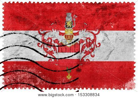 Flag Of Leuven With Coat Of Arms, Belgium, Old Postage Stamp