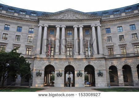 Interstate Commerce Commission Building, one of Greek architecture buildings in Washington DC, USA.