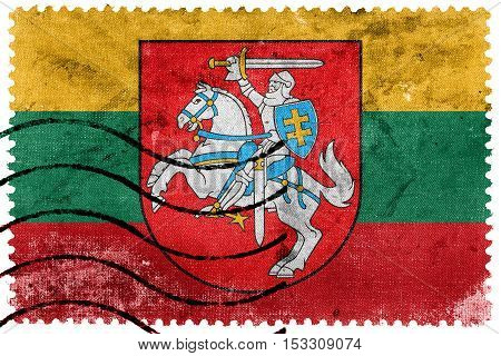 Flag Of Lithuania With Coat Of Arms, Old Postage Stamp
