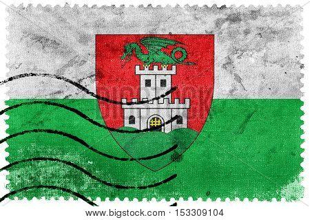 Flag Of Ljubljana, Slovenia, Old Postage Stamp