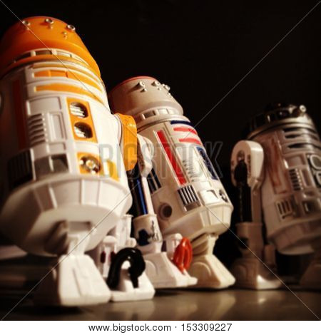 Low angle view of three Star Wars Astromech Droids R5-A2, R5-D4 and R2-D2 (Artoo Detoo)