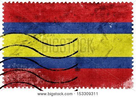 Flag Of Loja, Capital Of Loja Province, Ecuador, Old Postage Stamp