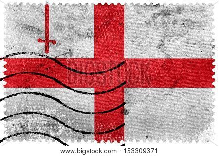 Flag Of London City, England, Uk, Old Postage Stamp