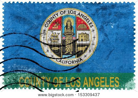 Flag Of Los Angeles County, California, Usa, Old Postage Stamp