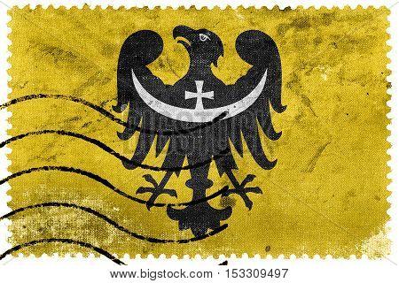 Flag Of Lower Silesian Voivodeship, Poland, Old Postage Stamp