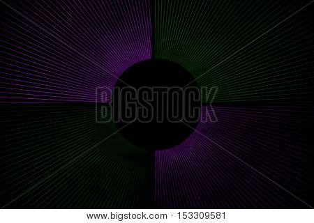 Line explosion on a dark green and purple background with a circle