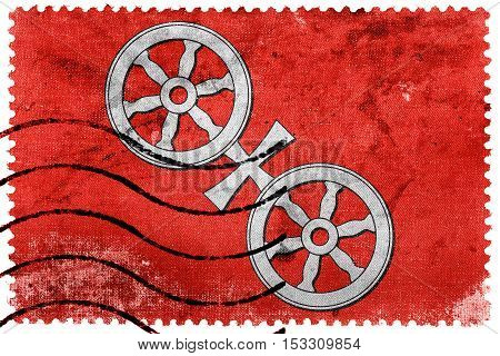 Flag Of Mainz, Germany, Old Postage Stamp