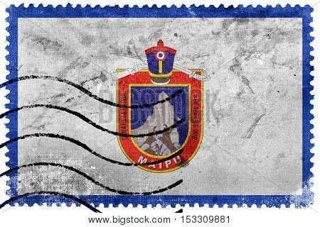 Flag Of Maipu, Chile, Old Postage Stamp
