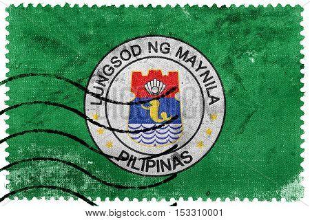 Flag Of Manila, Philippines, Old Postage Stamp