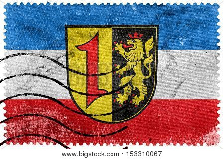 Flag Of Mannheim With Coat Of Arms, Germany, Old Postage Stamp