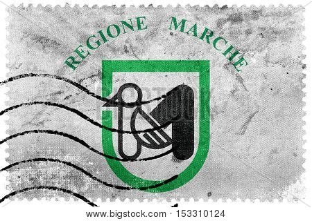 Flag Of Marche Region, Italy, Old Postage Stamp