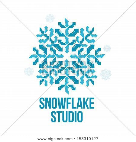 blue and white snowflake vector logo templates isolated on white background. Geometrical abstract snowflake logo, frozen product, Christmas celebration, winter activities logo design