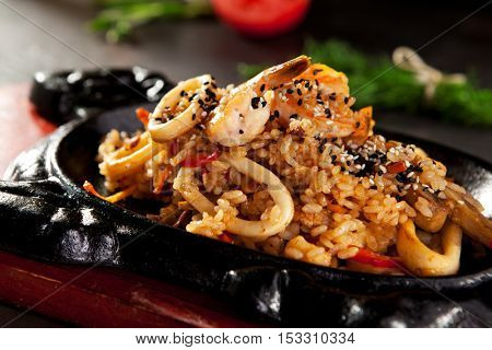 Fried Rice with Seafood and Vegetables