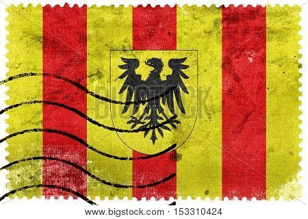 Flag Of Mechlin (mechelen), Belgium, Old Postage Stamp