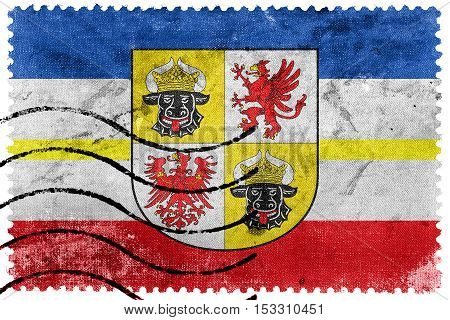 Flag Of Mecklenburg-western Pomerania With Coat Of Arms, Germany, Old Postage Stamp
