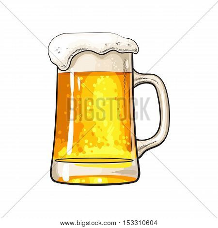 Big mug of cold beer with foam and bubbles, sketch style vector illustration isolated on white background. Hand drawn frosty mug of ice cold golden beer, lager, ale, Oktoberfest symbol