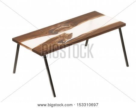 Wood And Epoxy Table On White Isolated Background