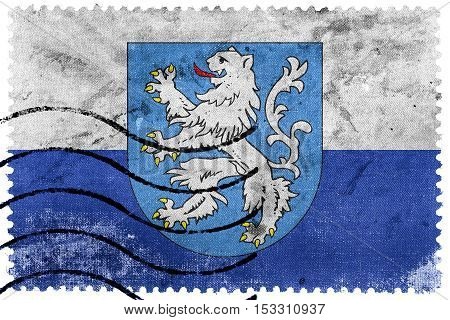 Flag Of Mlada Boleslav With Coat Of Arms, Czechia, Old Postage Stamp