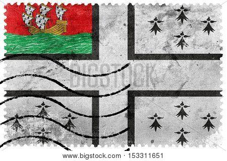 Flag Of Nantes, France, Old Postage Stamp