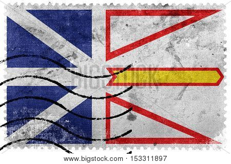 Flag Of Newfoundland And Labrador Province, Canada, Old Postage Stamp