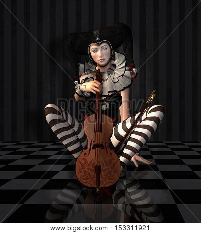 Pierrot with violin in a black and white room- 3D illustration