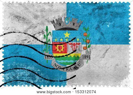 Flag Of Nova Iguacu, Brazil, Old Postage Stamp