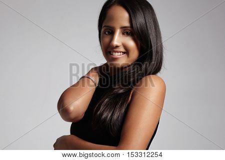 Pretty Smiling Woman Watching At Camera. Have Healthy Hair