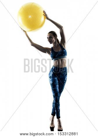 woman fitness  swiss ball excercises silhouette