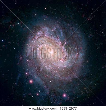 Messier 83, Southern Pinwheel Galaxy, M83 or NGC 5236 is a barred spiral galaxy in the constellation Hydra. Elements of this image furnished by NASA.