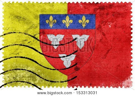Flag Of Orleans With Coat Of Arms, France, Old Postage Stamp