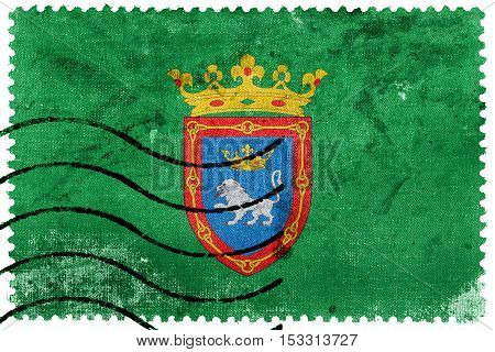Flag Of Pamplona, Spain, Old Postage Stamp