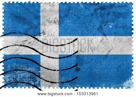 Flag Of Parnu, Estonia, Old Postage Stamp