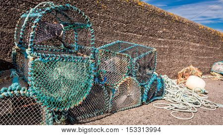 Colored Fishing Cage On Shore In Scotland
