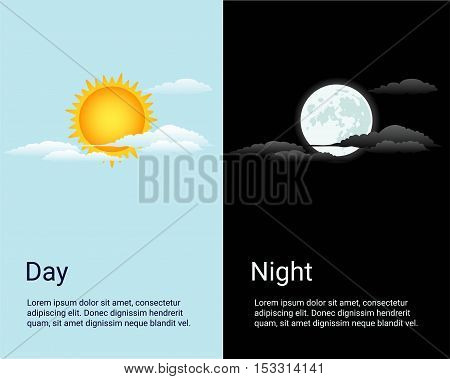 Vector day and night vector time concept background with sun and moon icons