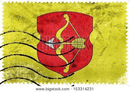 Flag Of Pinsk, Belarus, Old Postage Stamp