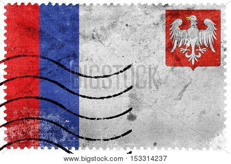 Flag Of Piotrkow Trybunalski, Poland, Old Postage Stamp