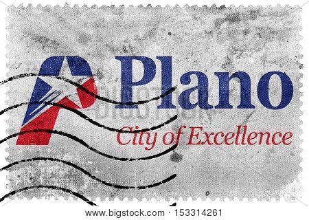 Flag Of Plano, Texas, Usa, Old Postage Stamp