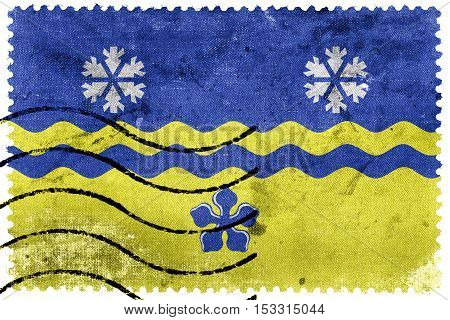 Flag Of Prince George, British Columbia, Canada, Old Postage Stamp