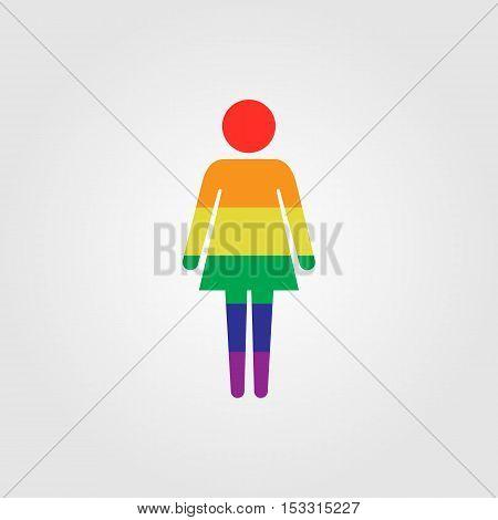 Lessbian vector icon LGBT rainbow flag vector icon