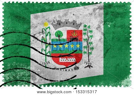 Flag Of Queimados, Brazil, Old Postage Stamp