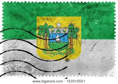 Flag Of Rio Grande Do Norte State, Brazil, Old Postage Stamp
