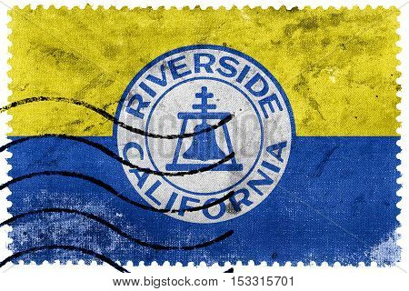 Flag Of Riverside, California, Usa, Old Postage Stamp