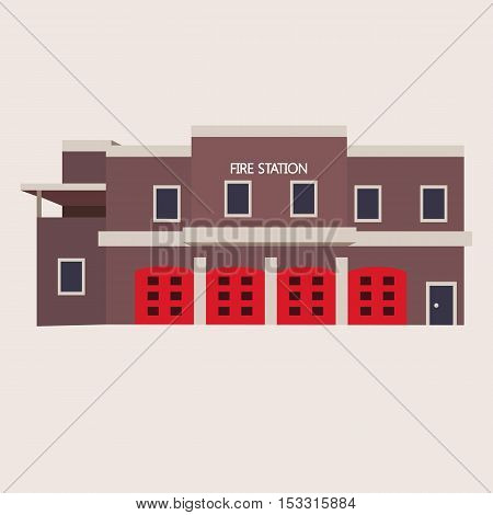 Vector flat illustration of fire station building