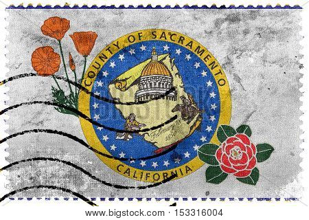 Flag Of Sacramento County, California, Usa, Old Postage Stamp