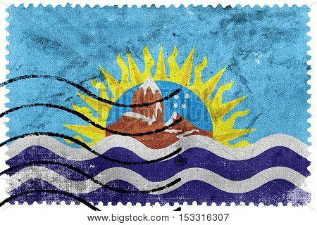 Flag Of Santa Cruz Province, Argentina, Old Postage Stamp